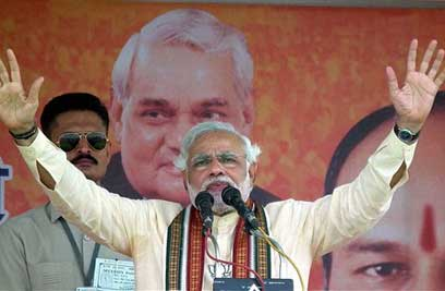 BJP Prime Ministerial nominee Narendra Modi addresses an election rally at Sangli in Maharashtra on Wednesday. (PTI)