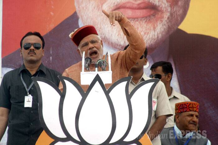 Narendra Modi addresses a rally in Himachal Pradesh