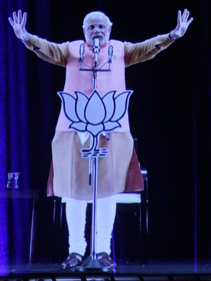 Narendra Modi addresses supporters through 3D video link