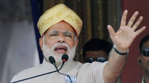 BJP Prime Ministerial candidate Narendra Modi addresses a public rally in Chikkaballapur near Bengaluru on Sunday. (PTI)