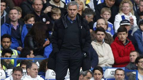 Chelsea's manager Jose Mourinho watches his team play against Stoke City during their English Premier League football match at Stamford Bridge, London on Saturday. (AP)