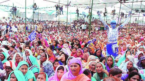 BSP supporters at Mayawati's rally in Muzaffarnagar Friday.PTI