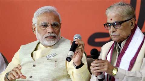 BJP leaders Narendra Modi and Murli Manohar Joshi during the releas of BJP Election Manifisto in New Delhi on Monday. (PTI)