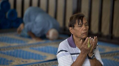 Muslims pray at a mosque in Yangon, Myanmar. (AP)