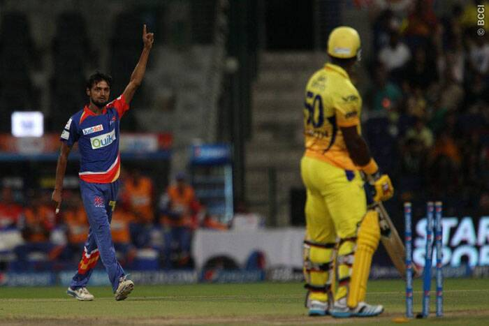 Shabhaz Nadeem reacts after dismissing Dwayne Smith of the Chennai Super Kings. (Photo: BCCI/IPL)