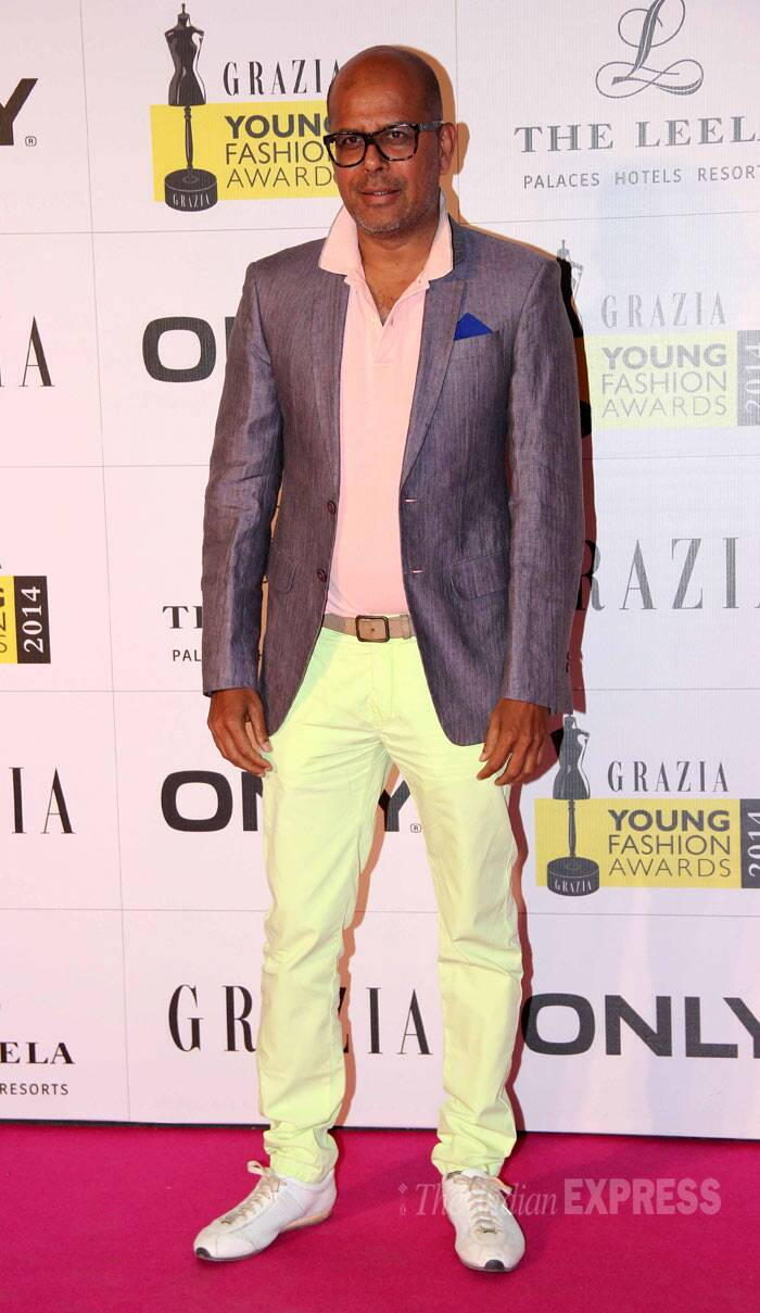 Designer Narednra Kumar was in his usual colourful self. (Photo: Varinder Chawla)