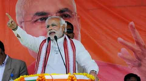 BJP Prime ministerial candidate Narendra Modi addressing during an election rally in Jharkhand on Wednesday. (PTI)