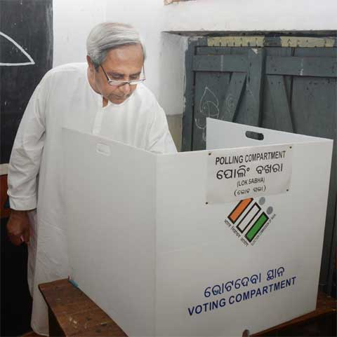 Odisha Chief Minister Naveen Patnaik casting his vote in Bhubaneswar. (Express Photo: Chandra Shekhar Sahoo)