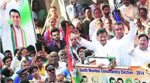 CM Prithviraj Chavan campaigns for Congress's South Mumbai LS candidate Milind Deora at Thakurdwar Saturday.