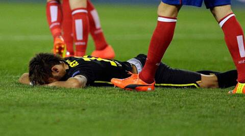 Barca struggled inspite of Neymar (above) and Messi during the second leg of the quarters against Atletico Madrid. (AP)