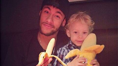 Alves' teammate Neymar posted a picture of himself holding a peeled banana. (Neymar/Instagram)