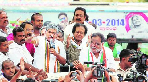 Star Ambareesh campaigns for Congress's Banga-lore South candidate Nandan Nilekani on Sunday. PTI