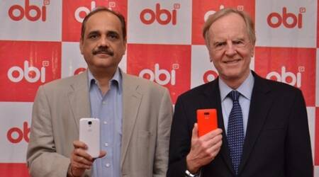 John Sculley, and Ajay Sharma, CEO, Obi Mobiles at the launch of Obi Mobiles