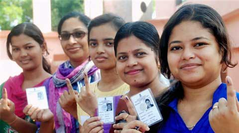 First times voters showing their inked fingers after casting votes at a polling station during the fifth phase of polling for Lok Sabha elections in Bhubaneswar. (PTI Photo)