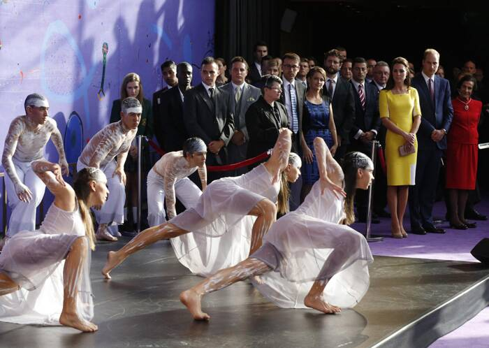 Prince William and Kate Middleton watch an Aboriginal welcome performance during a reception at the Sydney Opera House. (Reuters)