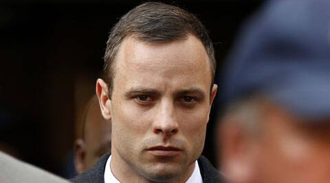 Oscar Pistorius leaves after attending his trial at the high court in Pretoria on Monday. (Reuters)