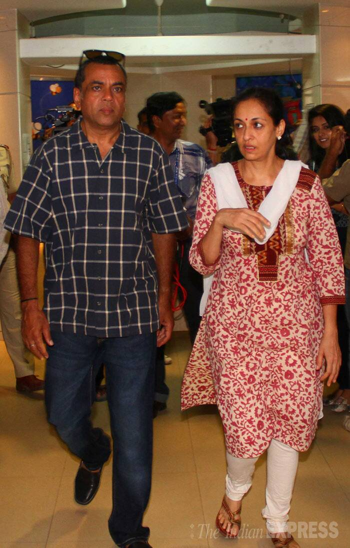 Paresh Rawal with his wife Swaroop Sampat. (IE Photo: Amit Chakravarty)