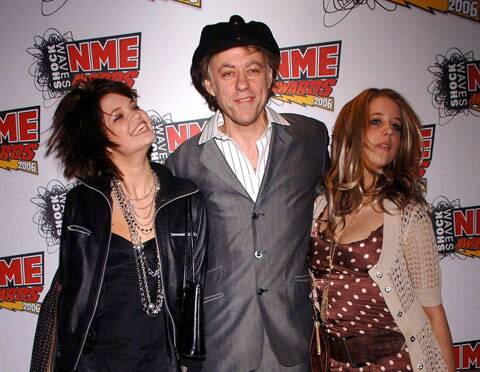In this Feb. 23, 2006 file photo Bob Geldof is seen with his daughters Pixie, left, and Peaches at the NME Awards 2006 in London.  (AP)