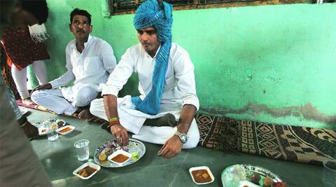Sachin Pilot lunches at a village in Ajmer.Anil Sharma.