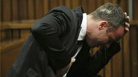 Oscar Pistorius becomes emotional during his trial at the high court in Pretoria. (Reuters)