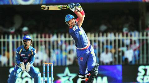 Kevin Pietersen plays a shot during his 18-ball 26* against the Mumbai Indians on Sunday. Delhi won by six wickets. BCCI