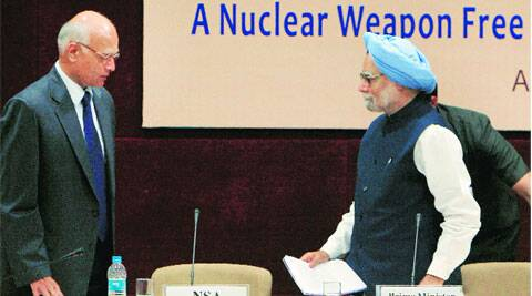 Manmohan Singh and NSA Shivshankar Menon in New Delhi. PTI