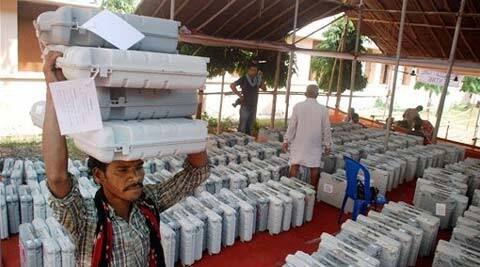 Electronic Voting Machines (EVM) at a distribution centre on the eve of the Lok Sabha elections in Bhubaneswar on Wednesday. (PTI)