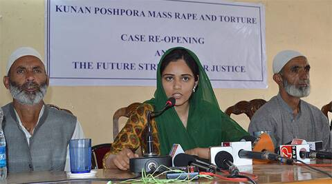 Support Group for Justice for the Konan Poshpora mass rape survivors speaking to media in Srinagar. Express Archive