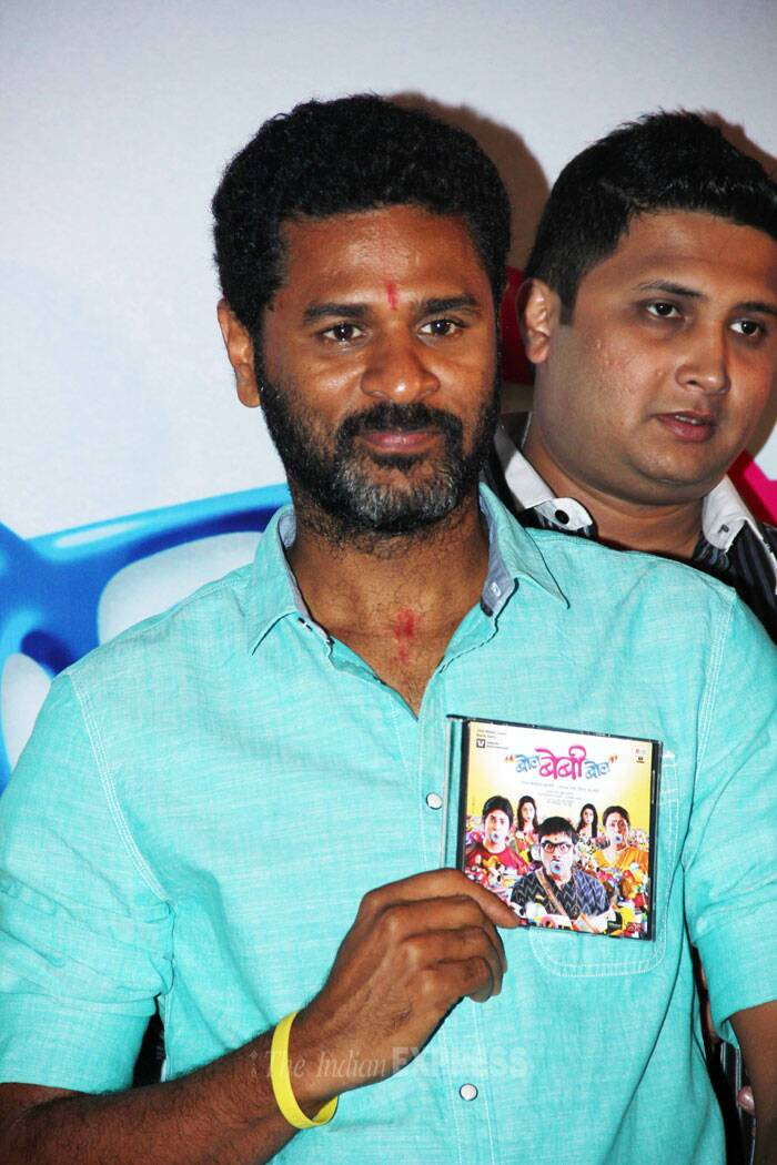 Prabhu Dheva holds up a picture of the music album for the cameras. (Photo: Varinder Chawla)