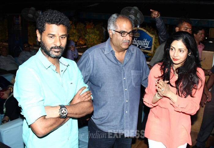 Actress Sridevi along with her producer husband Boney Kapoor attended the music launch of Marathi film, 'Bol Baby Bol'. Choreographer and director Prabhu Dheva also made it to the event. (Photo: Varinder Chawla)
