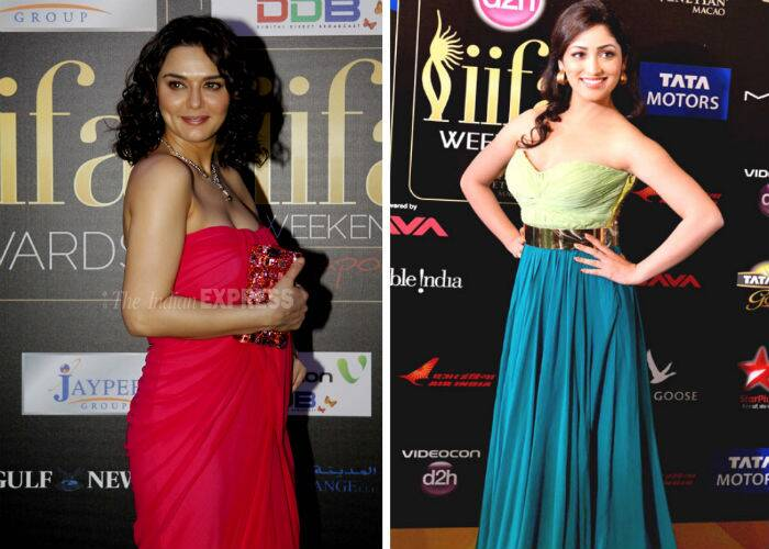 Bollywood beauties Preity Zinta and Yami Gautam added a pop of colour to the carpet. Preity who has been missing from the scene and is rarely seen at award functions these days was last spotted in pink strapless Ramona Narang gown at the 2012 IIFA Awards. While, 'Total Sipyappa' actress Yami Gautam stirred things up on the carpet in a color block gown by Swapnil Shinde at Macau in 2013.