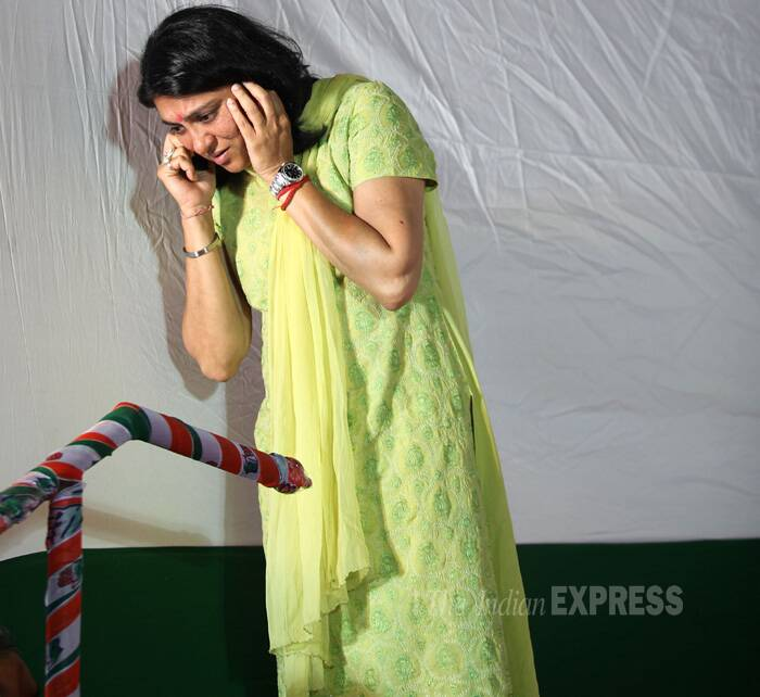 Priya Dutt takes a call during the inauguration function. (IE Photo: Prashant Nadkar)