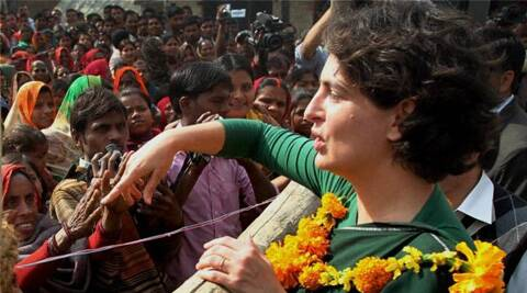 Priyanka Gandhi Vadra interacts with people during her election campaign at Haripur in Amethi. (PTI)