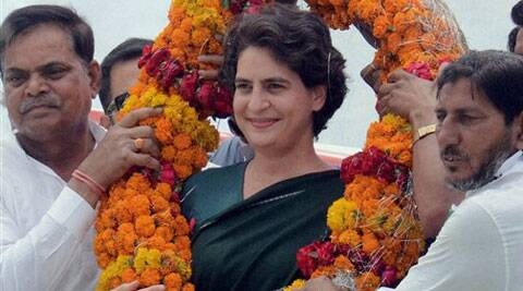Priyanka Vadra during an election campaign for her mother and Congress President Sonia Gandhi at Lalganj in Raebareli on Friday. (PTI)