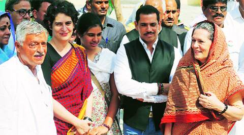 Priyanka with her daughter in Amethi last week. AP file
