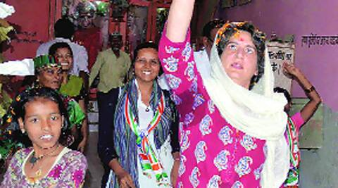 Priyanka visits a temple in Rae Bareli on Monday.PTI