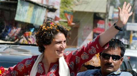 Priyanka Vadra during an election campaign for her mother and Congress President Sonia Gandhi in Raebareli on Monday. (PTI)