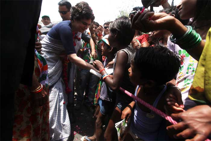 Priyank Gandhi Vadra interacting with  the localites during her two-day visit in Amethi on Wednesday. (Express Photo: Vishal Srivastav)