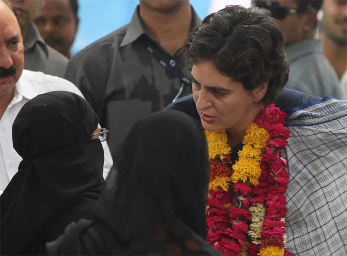 Projecting the Lok Sabha polls as a battle between two ideologies, Priyanka Gandhi on Wednesday kick-started the poll campaign in her mother Sonia Gandhi's constituency, Amethi. (Express Photo: Vishal Srivastav)