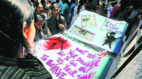 Students at a protest against the management of the school in Wanowrie. (Express archive)
