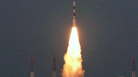 : PSLV C24, carrying the country's navigational satellite IRNSS - 1B, takes off from Satish Dhawan Space Centre at Sriharikota in Andhra Pradesh on Friday. (PTI)