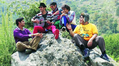 Strumming a tune atop a hillock is Tanuj Virwani  with his co-stars .