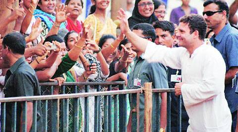 Congress vice-president Rahul Gandhi meets supporters at a rally at Nehru Maidan in Mangalore on Friday. PTI
