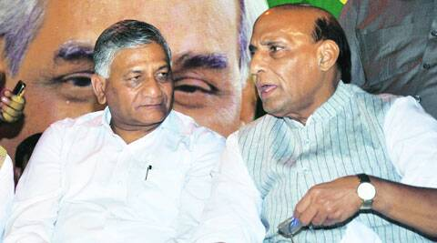 BJP's Lucknow candidate Rajnath Singh with VK Singh, in Lucknow Wednesday.