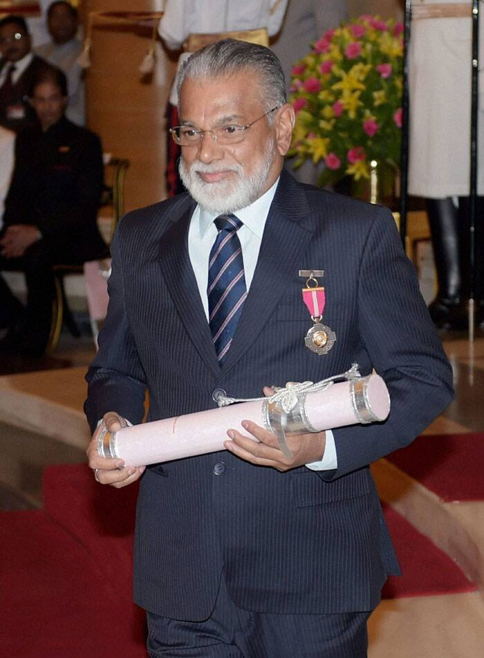 ISRO Chairman Radhakrishnan Koppillil after being honoured with Padma Bhushan during Padma Awards 2014 function at Rashtrapati Bhavan in New Delhi on Saturday. (PTI)
