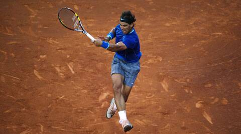 Rafael Nadal of Spain in action against Ivan Dodig from Croatia, during the Barcelona open tennis in Barcelona on Thursday. (AP)