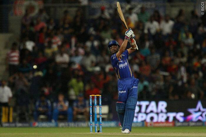 Ajinkya Rahane smashes one out of the park during his innings of 72 runs off 59 balls. (Photo: BCCI/IPL)