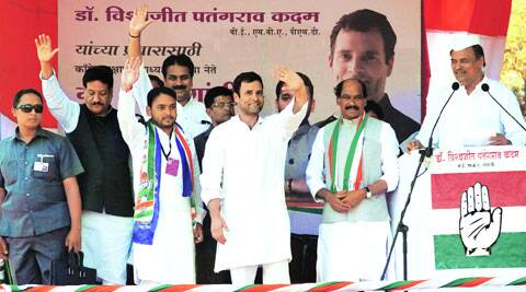 Congress vice-president Rahul Gandhi at a rally in Pune on Tuesday. Sandeep Daundkar