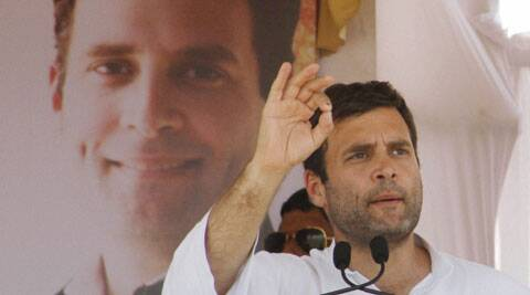 Congress Vice President Rahul Gandhi addresses an election rally in Botad, Gujarat on Saturday. ( PTI Photo)