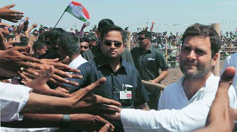 Rahul Gandhi during a public rally in Botad on Saturday. (Javed Raja)